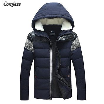 White Duck Down Winter Cotton Jacket Men PU Leather Patchwork 2016 New Men's Hooded Wool Collar Thick And Warm Jackets Coats 5XL
