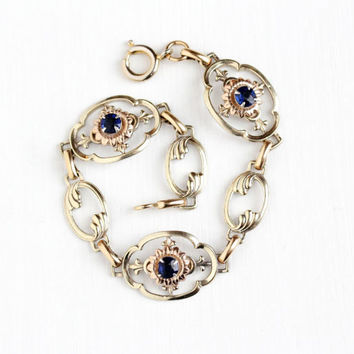 Vintage 12k Rose & Yellow Gold Filled on Silver Simulated Sapphire Bracelet - 1940s Retro Dark Blue Glass Stone Flower Panel Crosby Jewelry