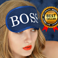 SALE!!! Boss Sleep Mask Felt Sleep Eye Mask Girl Boss Sleeping Unisex Eyemask Embroidery Handmade Modern Gift Accessories m17