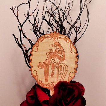 Jack and Sally Kissing Round Cake Topper