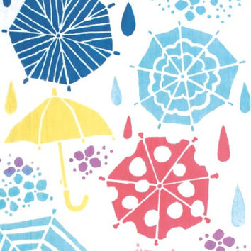 Japanese Tenugui Towel Cotton Fabric, Rain & Colorful Umbrella, Hand Dyed Fabric, Modern Art Design, Wall Art Hanging, Gift Wrapping, k014