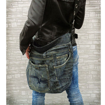 Cross body slouchy bag unisex grunge purse recycled upcycled jeans
