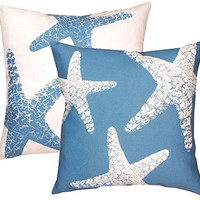 "Manual Woodworkers (2) Blue Starfish 18"" x 18"" Climaweave Indoor/Outdoor Pillows"