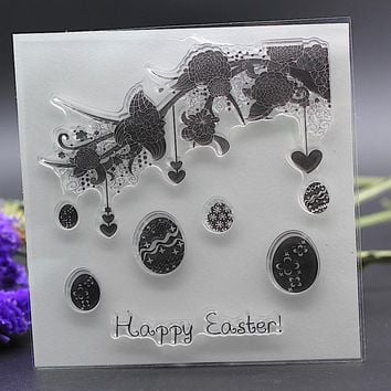 Clear Stamp for DIY Scrapbook Card album paper craft  silicon rubber roller transparent stamp happy Easter eggs