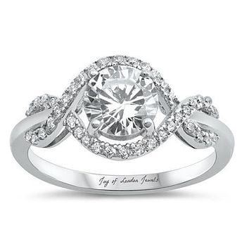 A Flawless 1.7CT Round Cut Russian Lab Diamond Halo Infinity Ring