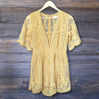 as you wish embroidered lace romper (women) - mustard