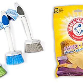 Blue 10in brushes with Pairs Reusable Arm & Hammer Latex Gloves (Small) By KOBOsale