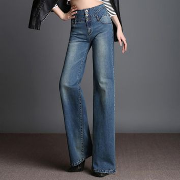 2017 new womens fashion jeans ladies elegant wide leg jeans straight long trousers leisure zipper fly high waist jeans for women