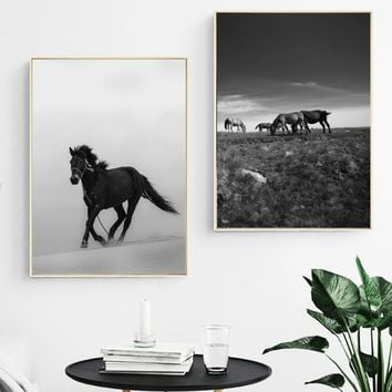 Black White Steppe Horse Landscape Wall Art Canvas Painting Nordic Posters And Prints Wall Pictures For Living Room Wall Decor