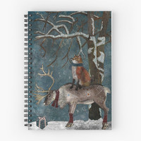 Winter Tale - Spiral Notebook /// Art Notebook, Art Journal, Fox Notebook, Diary Book, Art Planner, Lined Notebook, Journal Notebook, Animal