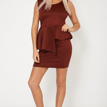 Sleeveless Ruffled Overlay Dress Plus Sizes Available