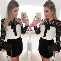 Black and White Lace Long Sleeve NeckTie Dress