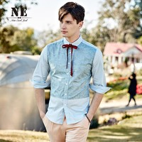 Men's Fashion Half-sleeve Print Patchwork England Style Stylish Slim Shirt [7951292291]