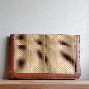 Vintage Basket Weave Clutch / Ann Klein Purse / 1980s / Tan Leather trim / Boho Chic / Classic Purse