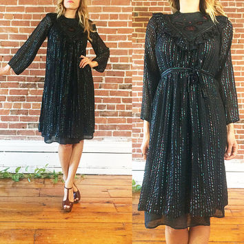 Vintage 1970's Rare Indian GAUZE Black Rainbow Lurex Boho Hippie Gypsy Bell Sleeve Festival Tent Dress || Size XS To Small
