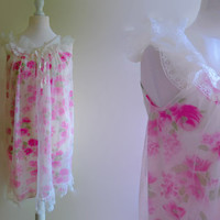 Pink floral vintage nightgown - long white nightdress - sheer nylon nightgown - romantic night gown