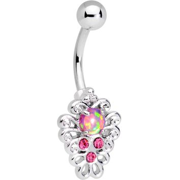 Pink Synthetic Opal Filigree Pendant Belly Ring