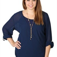 Plus Size Equipment Top with Crossover Front and Roll Tab Sleeves