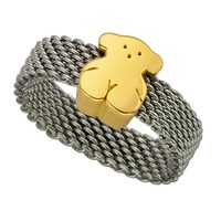 Stainless steel TOUS Mesh ring with 18kt yellow gold bear