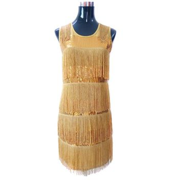 Women Slim Fit Tiered Swinging Fringe Sequin Dress Sexy Flapper Girl Sleeveless Gatsby Party Dress