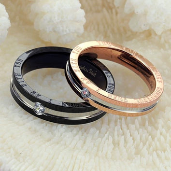 His and Hers Match Rings Set Titanium steel Austrian Rhinestone Couple rings = 6014675143