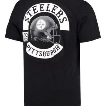 ESBON NFL Pittsburgh Steelers Vintage Black And White T-Shirt