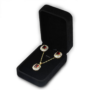 Jewelry Set Jewelry Box Gift 10cm x 7cm x 3.5cm Black Velvet Box Packaging P004