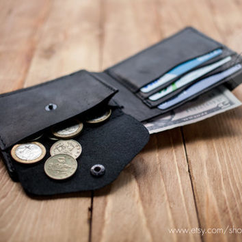 Credit card wallet black genuine leather wallet minimal wallet slim wallets coin pocket wallets billfold wallet card holder travel wallet