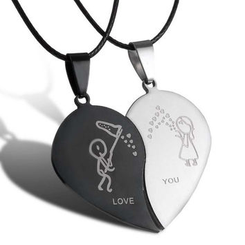 2017 New Couple Necklace Broken Heart Necklaces & Pendants lovers Necklace Jewelry Stainless Steel Valentine's Day Gift Necklace