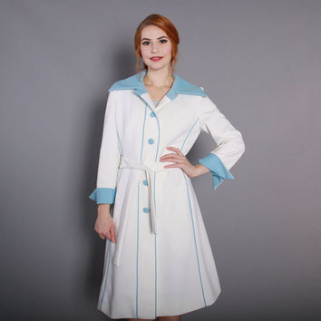 1960s Lilli Ann Knits Belted COAT / Vintage 60s White and Sky Blue Mod Jacket, s