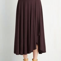 Minimal Long A-line Travel Writing Workshop Skirt in Plum
