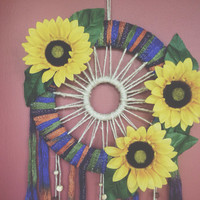 Sunflower Dreamcatcher // Ombre // Floral // Wall Hanging // Bohemian // Hippie
