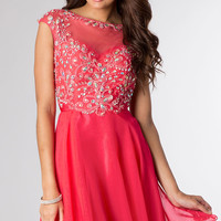 Short Homecoming Dress with Cap Sleeves by Hannah S