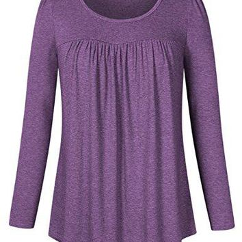 Clearlove Womens Tops and Blouses Long Sleeve Scoop Neck Plus Size Pleated Tunic T Shirt M4XL