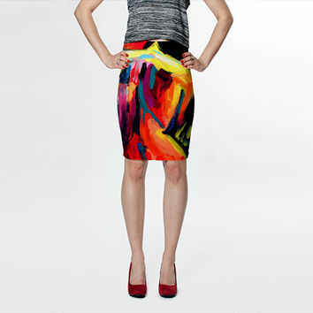 Skirt women's fitted pencil skirt featuring artwork Femme 172 by Aja S M L XL choose size
