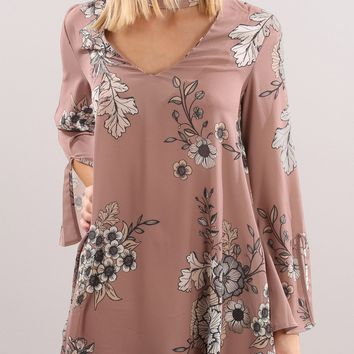 Streetstyle  Casual Apricot Floral Print Cut Out Round Neck Long Sleeve Mini Dress
