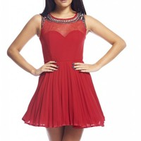 Red Fit & Flare Sweetheart Dress with Mesh Stone Neckline