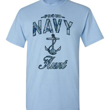 Proud Navy Aunt T-Shirt (Camo)