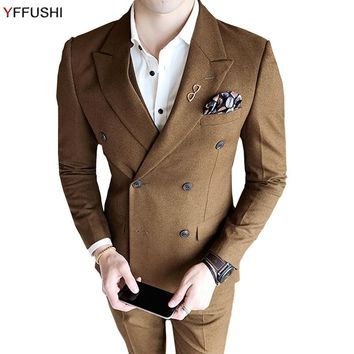 YFFUSHI Newest Men Suit Wine Red Khaki Grey Suits 3 Pieces Double Breasted Wedding Suits For Men England Casual Style Slim Fit