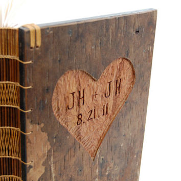 Rustic Guest Book Custom with carved tree bark covers - fall wedding personalized rustic forest botanical- made to order