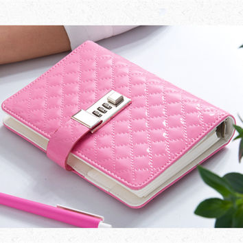 Fashion british style vintage boxed diary lockable notebook hardcover lock notepad A6 BK09