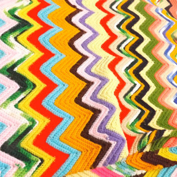 Vintage Colorful Handmade Chevron Afghan