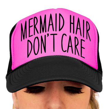 Mermaid Hair Don't Care, Mermaid Hat, Beach Hat, Trucker Hat, Baseball Cap, Adjustable, Snap-back, Mesh, OTTO Cap, Women's Hat, Accessories