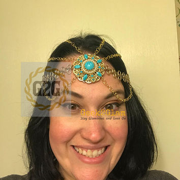 Reimagined Antique jewelry headdress gold teal and pearl for wedding prom date night hair jewelry
