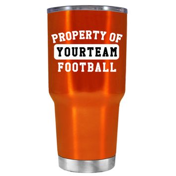 TREK Property of Football Personalized on Translucent Orange 30 oz Tumbler Cup