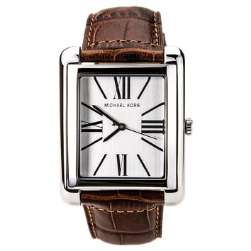 Michael Kors MK2244 Women's White Dial Brown Crocodile-Embossed Leather Strap Watch