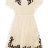Valentino|Appliquéd lace dress|NET-A-PORTER.COM
