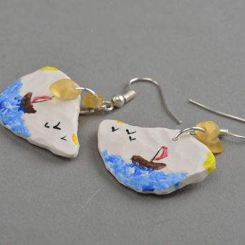 Unusual homemade plastic earrings designer jewelry fashion accessories