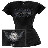 Daughtry - Womens Foil Burnout Juniors T-shirt Medium Black