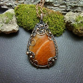 Burnt Orange Dragon Vein Agate Tree of Life Wire Wrap Necklace